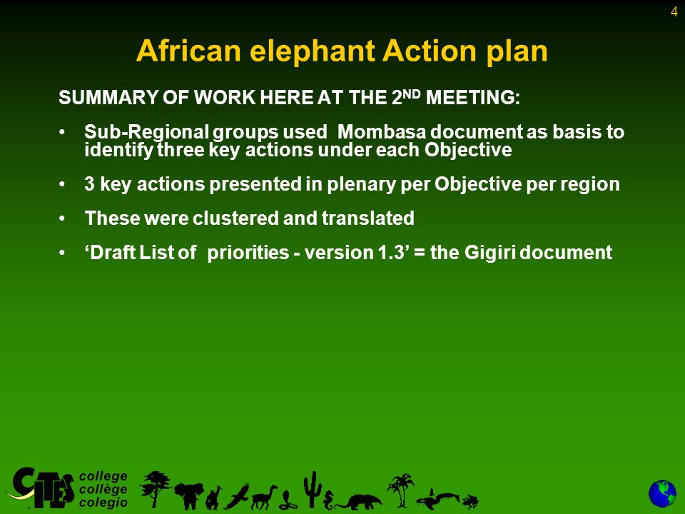 4 African elephant Action plan SUMMARY OF WORK HERE AT THE 2 ND MEETING: Sub-Regional groups used Mombasa document as basis to identify three key actions under each Objective 3 key actions presented in plenary per Objective per region These were clustered and translated Draft List of priorities - version 1.3 = the Gigiri document