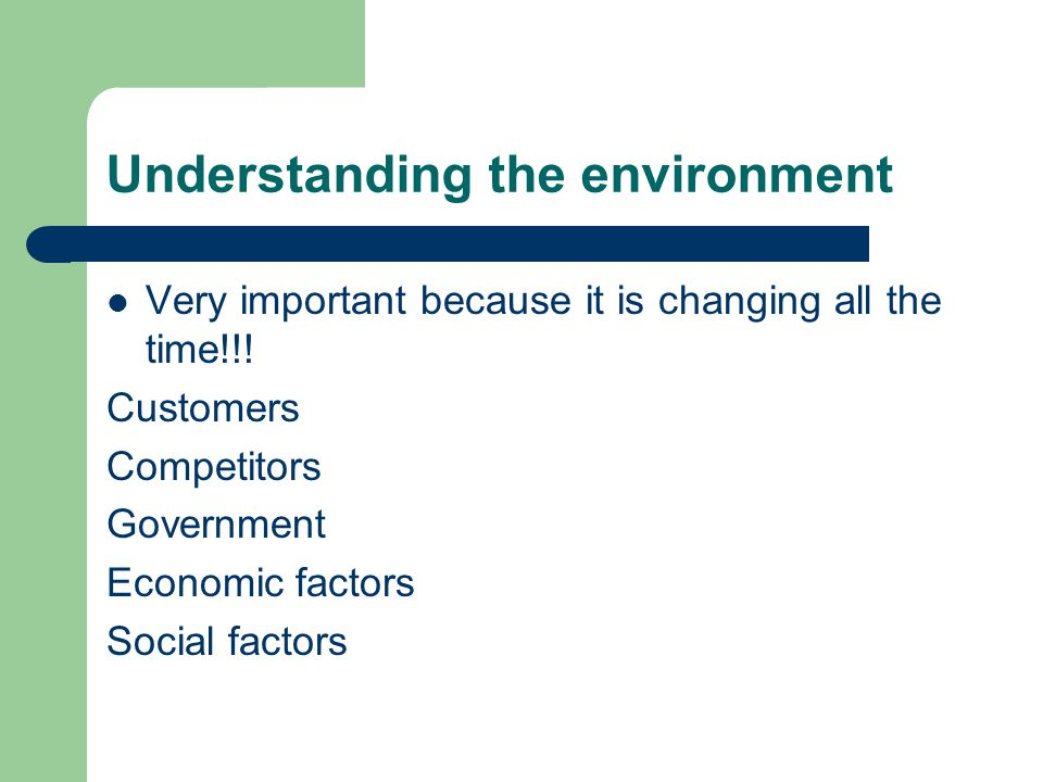 Understanding the environment Very important because it is changing all the time!!.