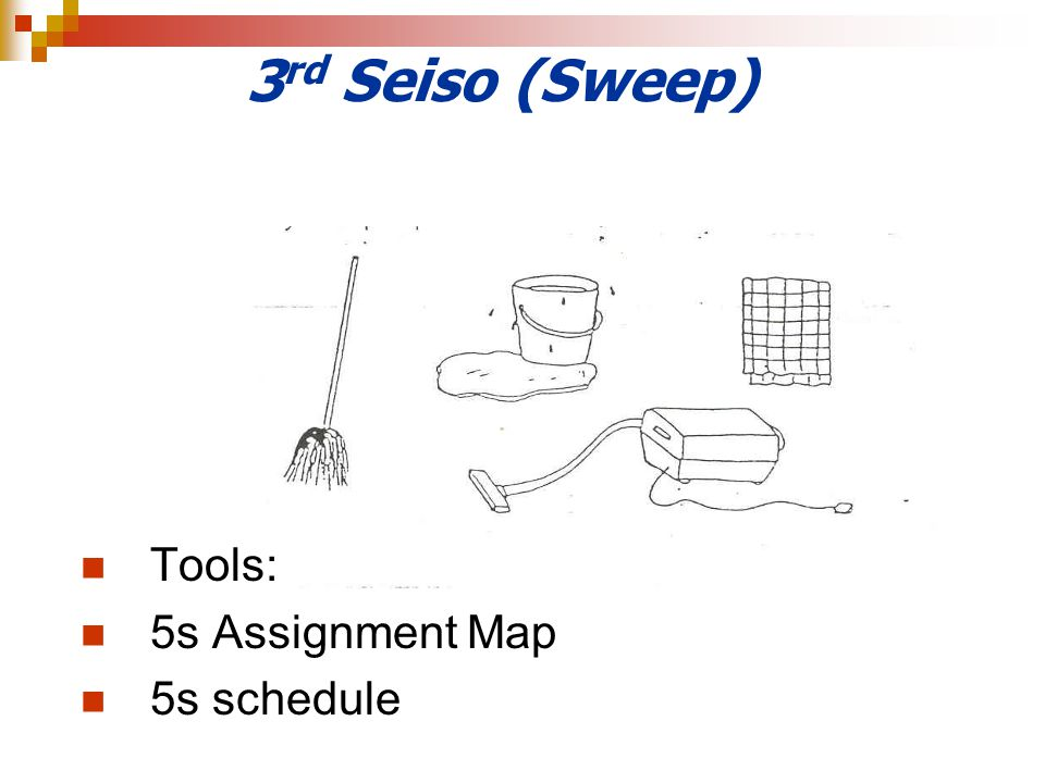 3 rd Seiso (Sweep) Tools: 5s Assignment Map 5s schedule