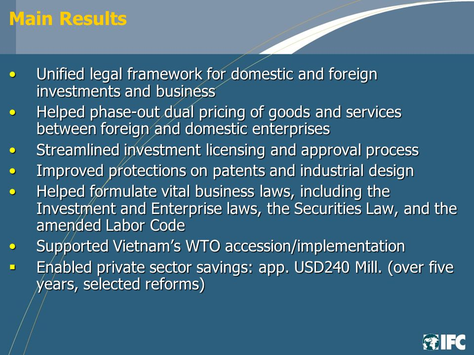 Main Results Unified legal framework for domestic and foreign investments and businessUnified legal framework for domestic and foreign investments and business Helped phase-out dual pricing of goods and services between foreign and domestic enterprisesHelped phase-out dual pricing of goods and services between foreign and domestic enterprises Streamlined investment licensing and approval processStreamlined investment licensing and approval process Improved protections on patents and industrial designImproved protections on patents and industrial design Helped formulate vital business laws, including the Investment and Enterprise laws, the Securities Law, and the amended Labor CodeHelped formulate vital business laws, including the Investment and Enterprise laws, the Securities Law, and the amended Labor Code Supported Vietnams WTO accession/implementationSupported Vietnams WTO accession/implementation Enabled private sector savings: app.