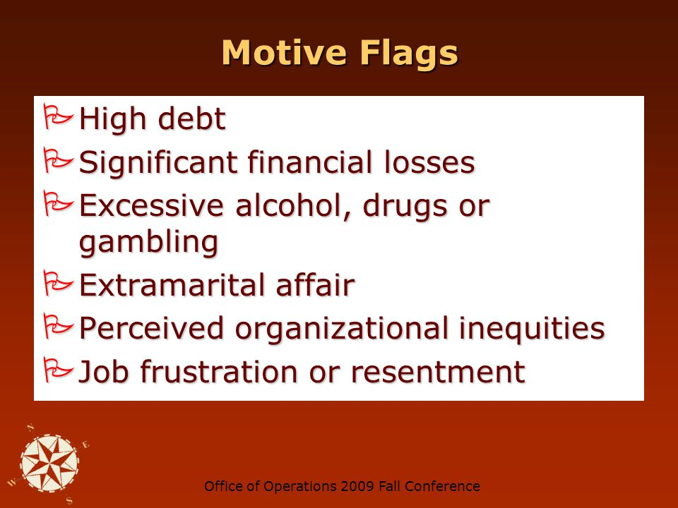 Office of Operations 2009 Fall ConferenceMotive Motive OpportunityRationalization Motive