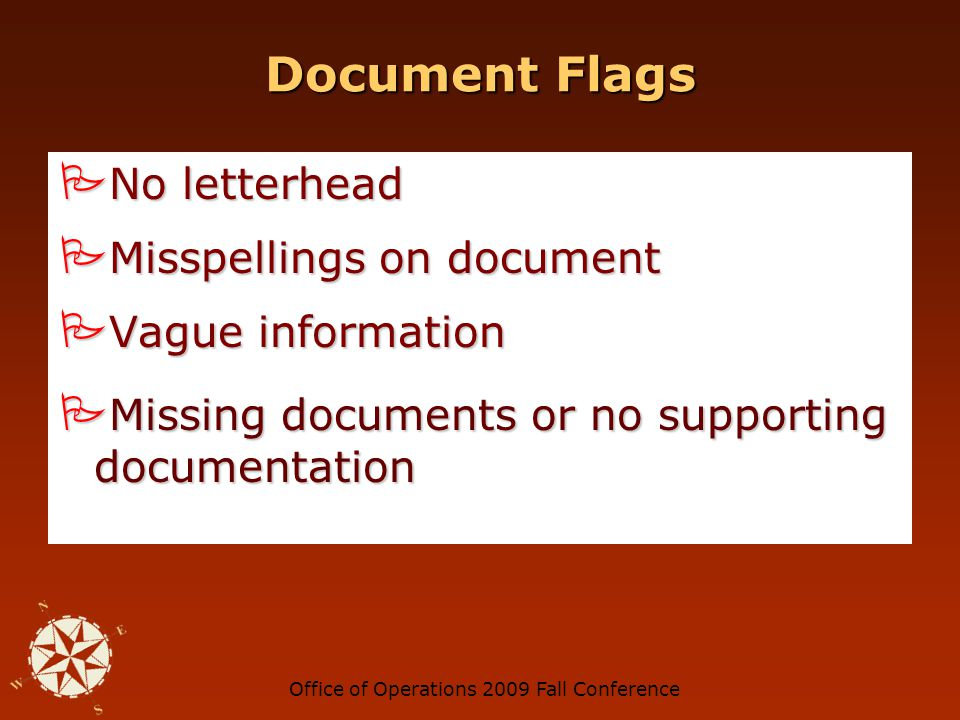 Office of Operations 2009 Fall Conference Document Flags No TIN No TIN Unknown company name Unknown company name Company name includes initials or personal name Company name includes initials or personal name