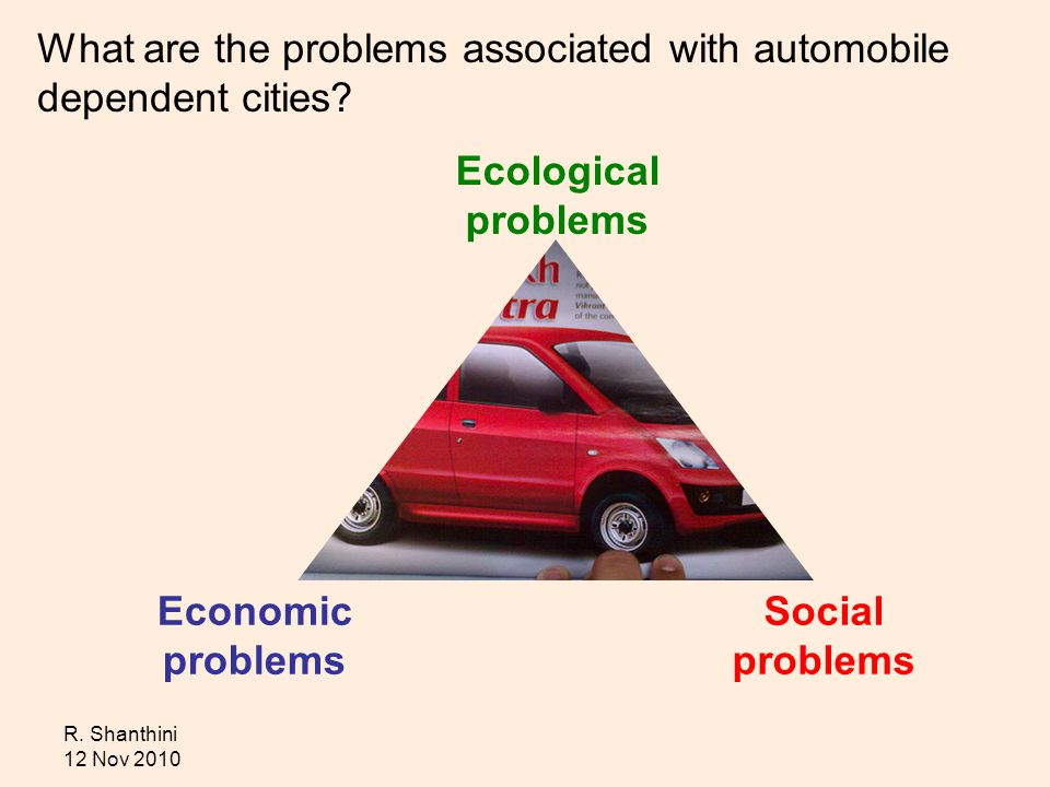 R. Shanthini 12 Nov 2010 What are the problems associated with automobile dependent cities.