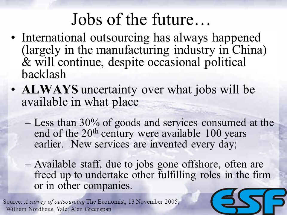 Jobs of the future… International outsourcing has always happened (largely in the manufacturing industry in China) & will continue, despite occasional political backlash ALWAYS uncertainty over what jobs will be available in what place –Less than 30% of goods and services consumed at the end of the 20 th century were available 100 years earlier.