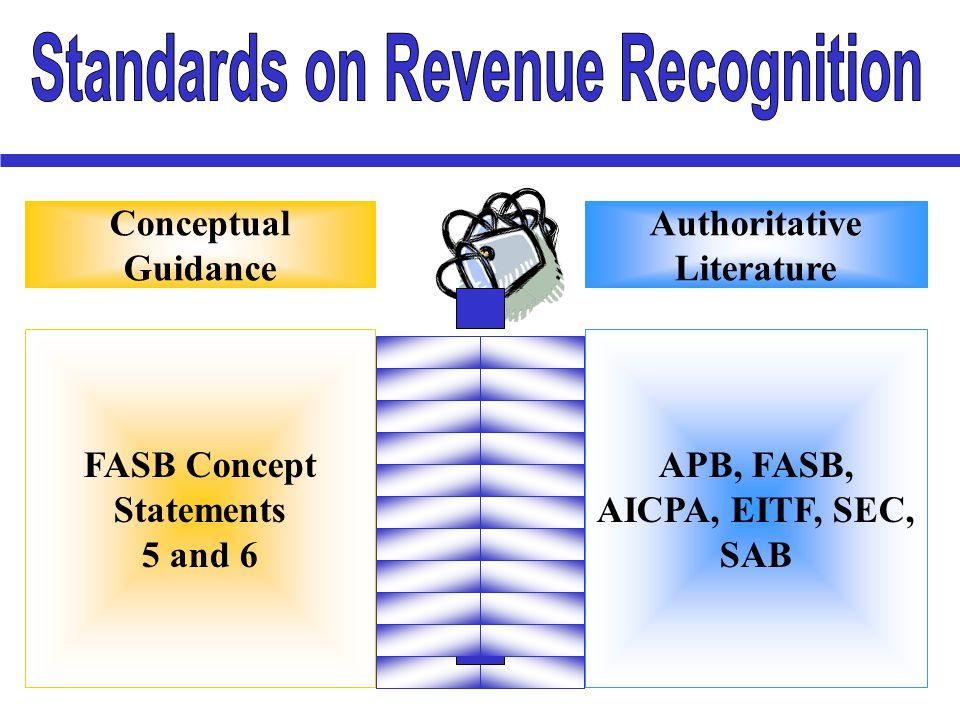 FASB Concept Statements 5 and 6 APB, FASB, AICPA, EITF, SEC, SAB Conceptual Guidance Authoritative Literature