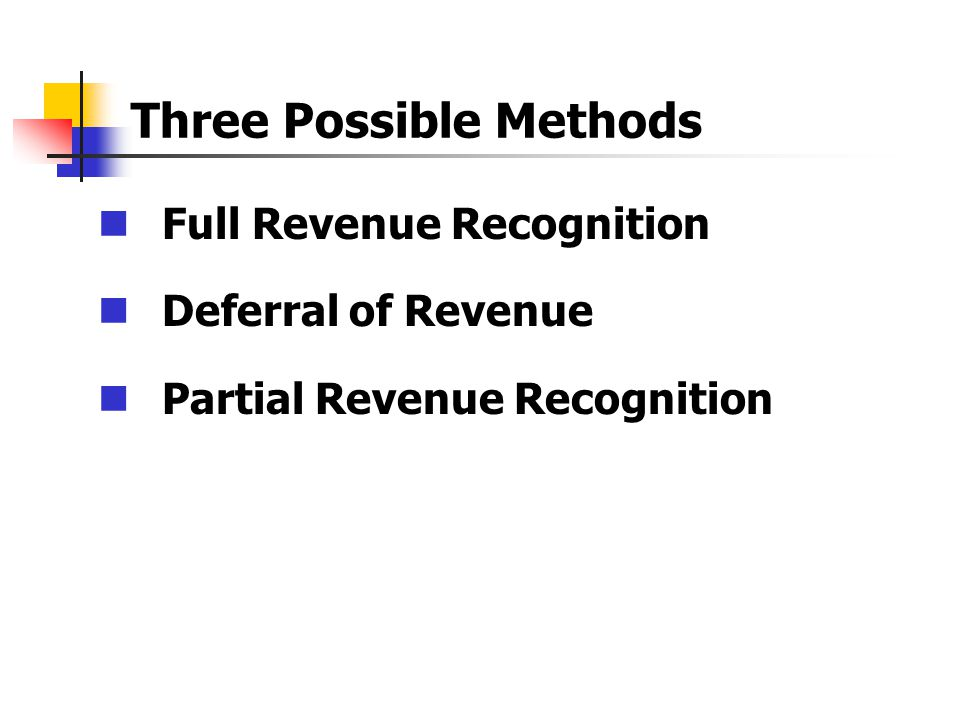 Full Revenue Recognition Deferral of Revenue Partial Revenue Recognition