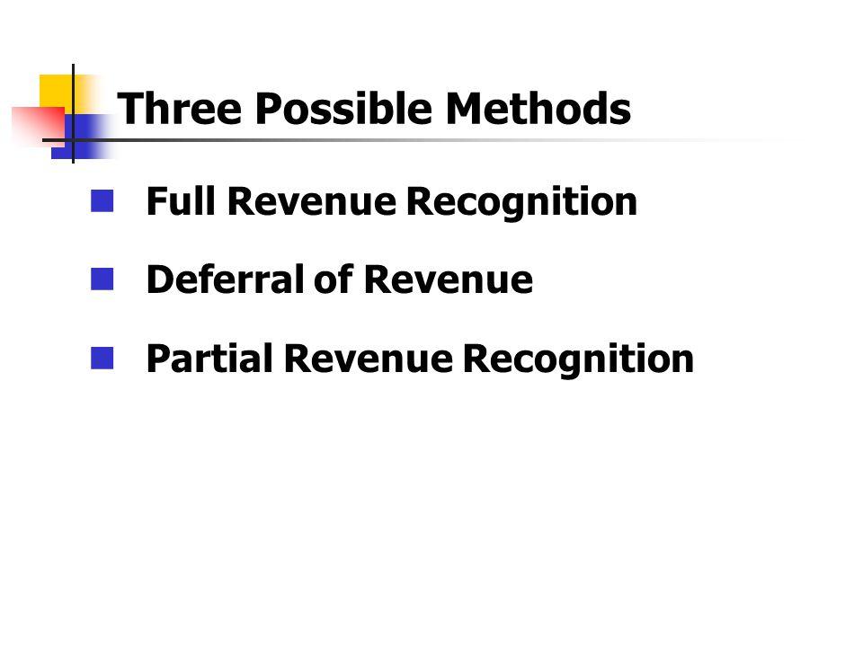 Full Revenue Recognition Deferral of Revenue Partial Revenue Recognition
