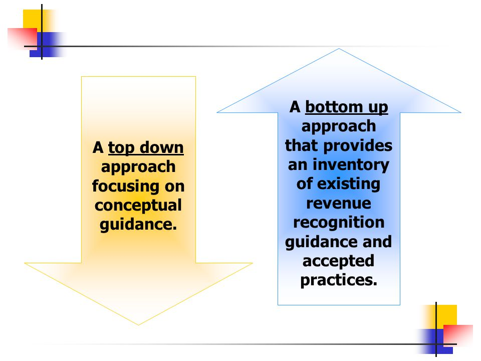 A top down approach focusing on conceptual guidance. A bottom up approach that provides an inventory of existing revenue recognition guidance and acce