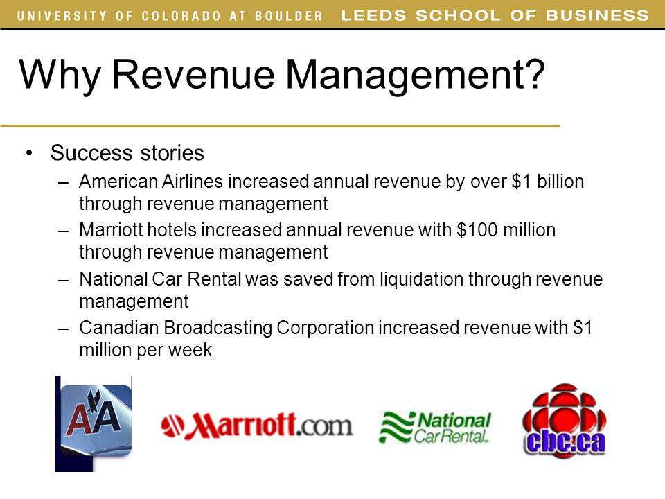 Why Revenue Management? Success stories –American Airlines increased annual revenue by over $1 billion through revenue management –Marriott hotels inc