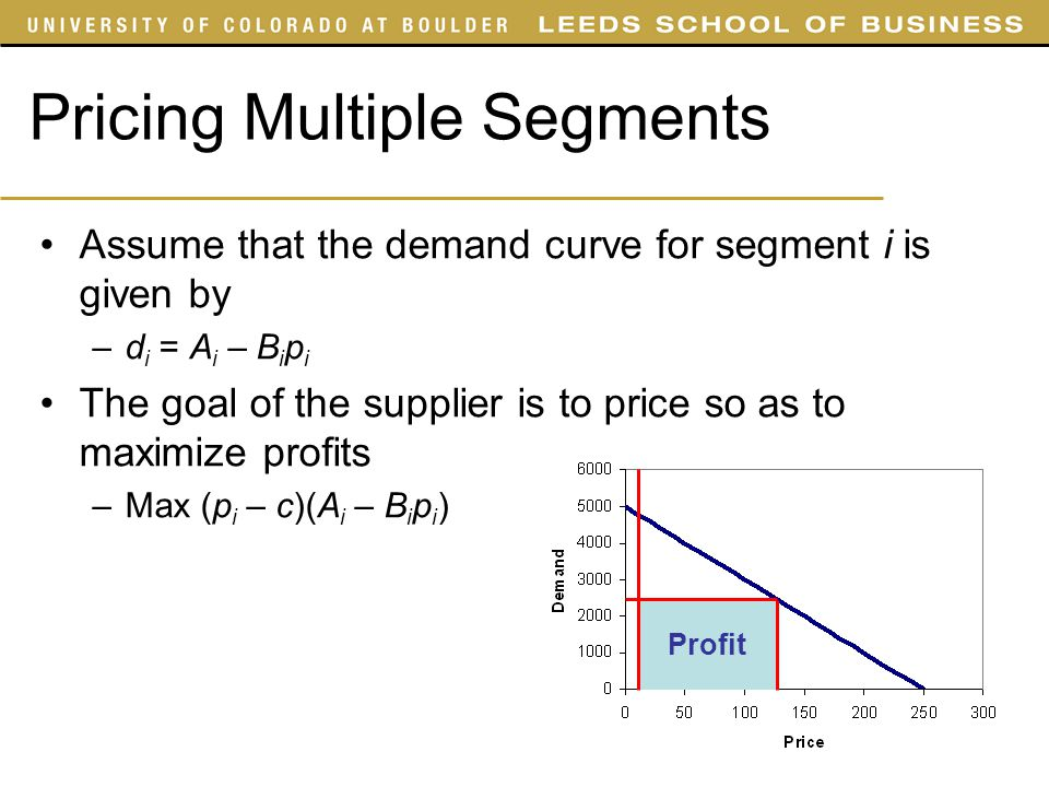 Pricing Multiple Segments Assume that the demand curve for segment i is given by –d i = A i – B i p i The goal of the supplier is to price so as to ma