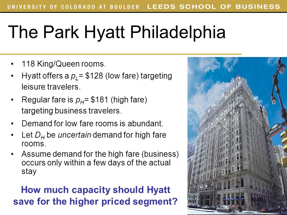 The Park Hyatt Philadelphia 118 King/Queen rooms. Hyatt offers a p L = $128 (low fare) targeting leisure travelers. Regular fare is p H = $181 (high f