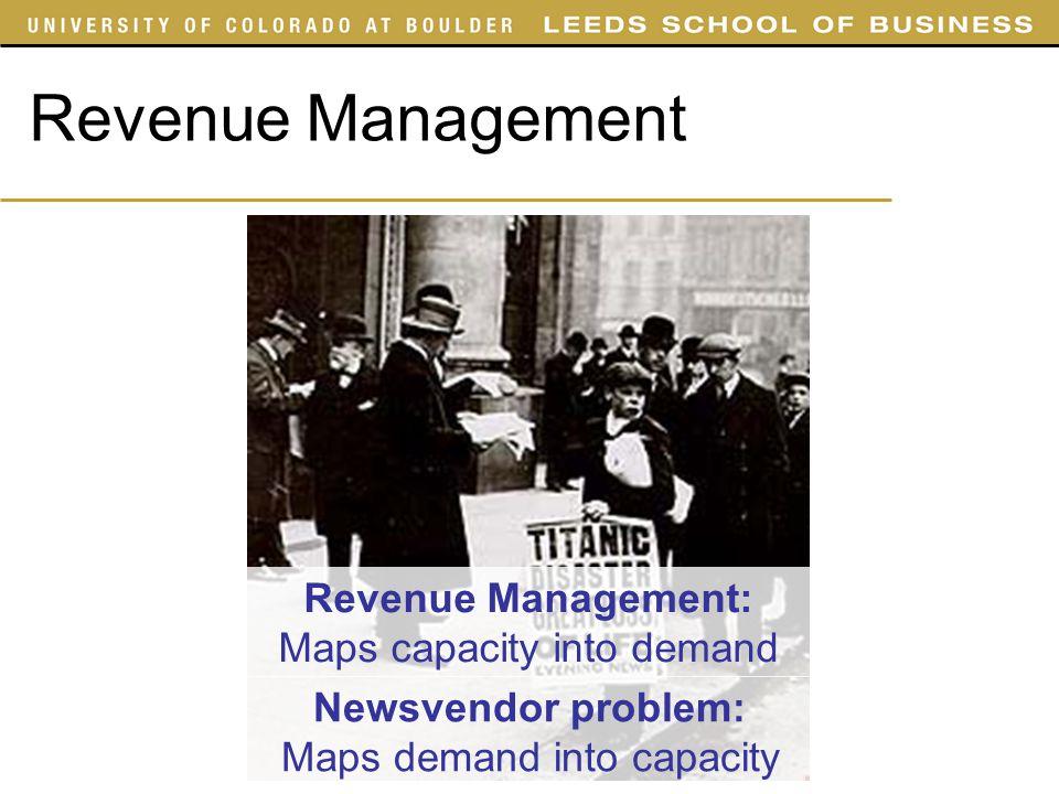 Revenue Management Newsvendor problem: Maps demand into capacity Revenue Management: Maps capacity into demand