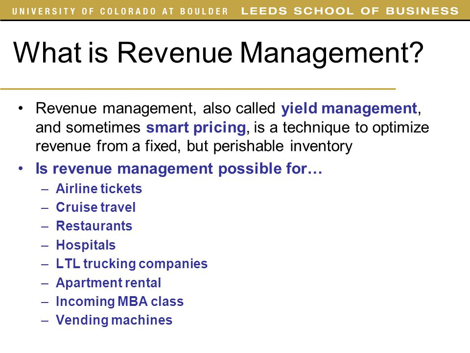 What is Revenue Management? Revenue management, also called yield management, and sometimes smart pricing, is a technique to optimize revenue from a f