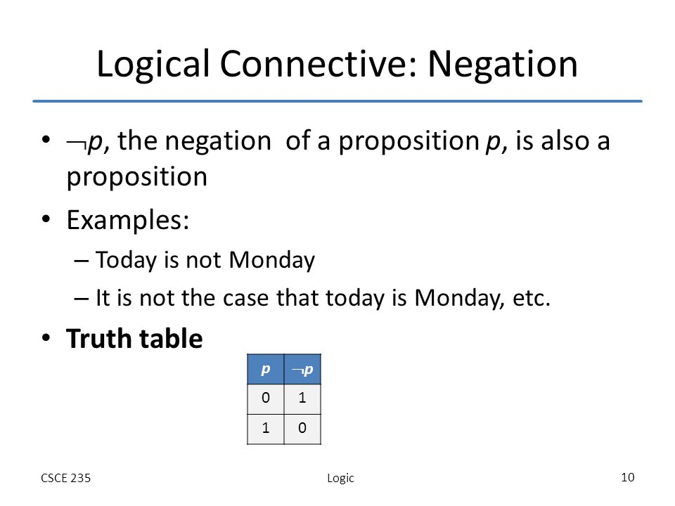 LogicCSCE 235 10 Logical Connective: Negation p, the negation of a proposition p, is also a proposition Examples: – Today is not Monday – It is not the case that today is Monday, etc.