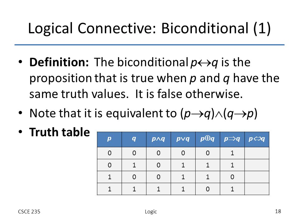 LogicCSCE 235 18 Logical Connective: Biconditional (1) Definition: The biconditional p q is the proposition that is true when p and q have the same truth values.