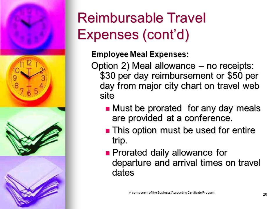 20 Reimbursable Travel Expenses (contd) Employee Meal Expenses: Option 2) Meal allowance – no receipts: $30 per day reimbursement or $50 per day from major city chart on travel web site Must be prorated for any day meals are provided at a conference.