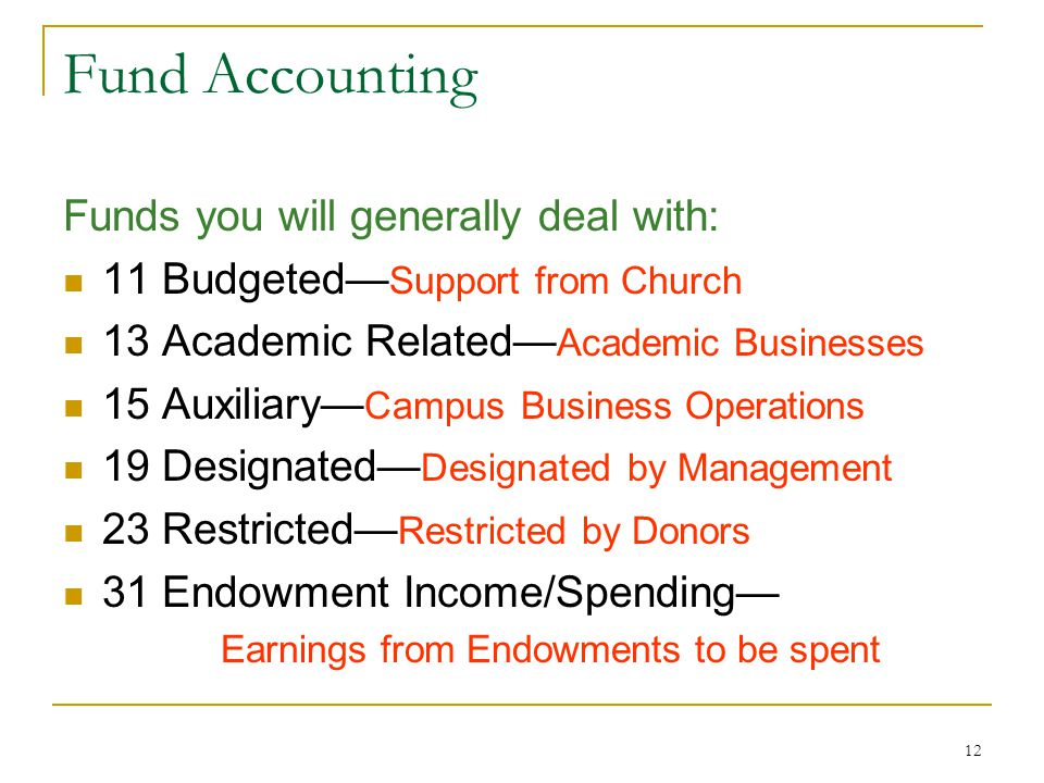 12 Fund Accounting Funds you will generally deal with: 11 Budgeted Support from Church 13 Academic Related Academic Businesses 15 Auxiliary Campus Business Operations 19 Designated Designated by Management 23 Restricted Restricted by Donors 31 Endowment Income/Spending Earnings from Endowments to be spent