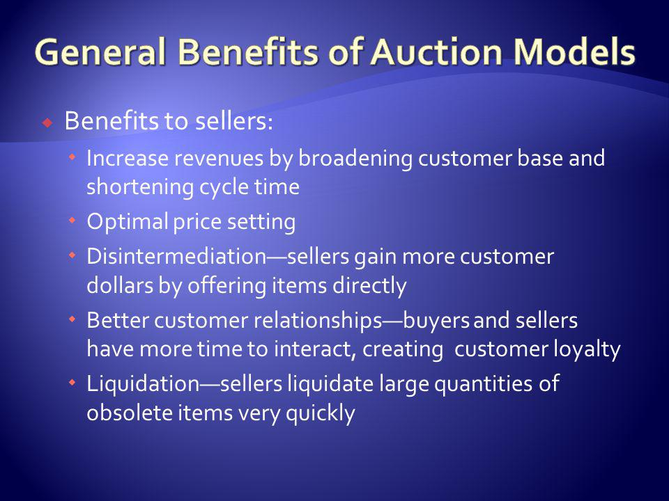 Benefits to buyers: Opportunities to find unique items and collectibles Chance to bargainbuyers can bid with seller for desired prices Entertainmentinteraction in auction can be entertaining and exciting Anonymity3 rd party allows buyer anonymity Conveniencebuyers trade from anywhere (even cell phone)
