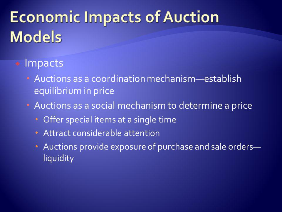 Auctions as a highly visible distribution mechanism Deals with special offers Use the mechanism to attract customers Bargain hunters Have preference for gambling dimension of auction process Auction as a component in e-commerce