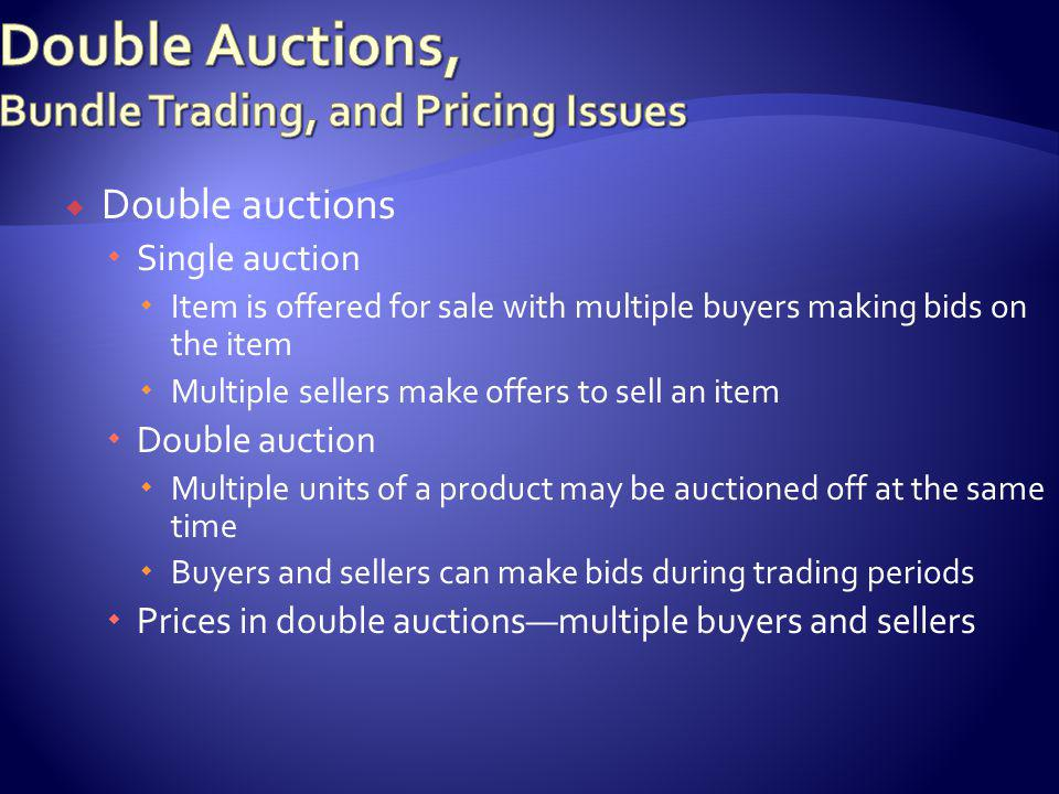Bundle tradingpersonalization and customization of products and services Collection of complementary goods and services (e.g., airline tickets, hotel reservations, rental cars) Simplified, efficient alternative solution to purchasing from multiple sellers Management and operation of bundle markets is complex and differs considerably from single or double auction markets
