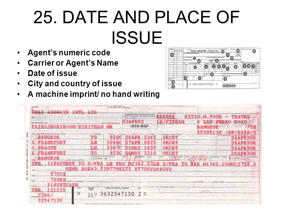 25. DATE AND PLACE OF ISSUE Agents numeric code Carrier or Agents Name Date of issue City and country of issue A machine imprint/ no hand writing