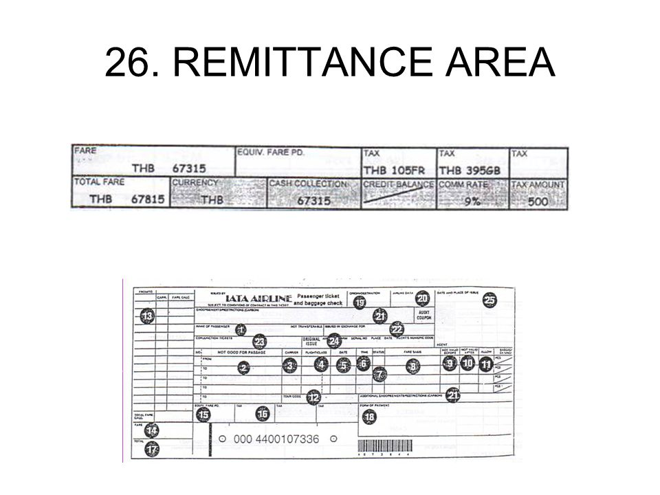 26. REMITTANCE AREA