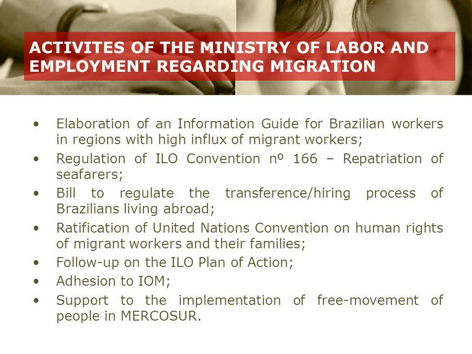 Nilton Freitas Chair, National Migration Council Tel: (61) 3317-6785 www.mte.gov.br (internacional) Aldo Cândido Costa Filho Coordinator tel: (61) 3317-6417 www.mte.gov.br imigrante.cgig@mte.gov.br Contact Information
