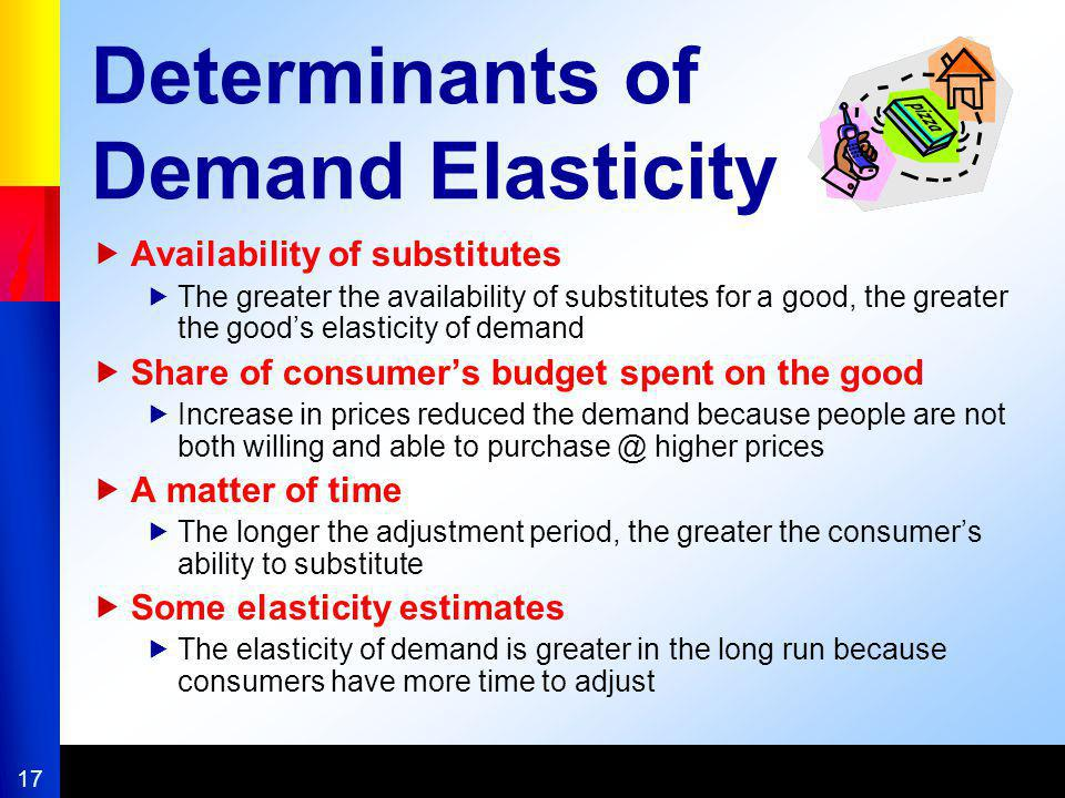 17 Determinants of Demand Elasticity Availability of substitutes The greater the availability of substitutes for a good, the greater the goods elastic