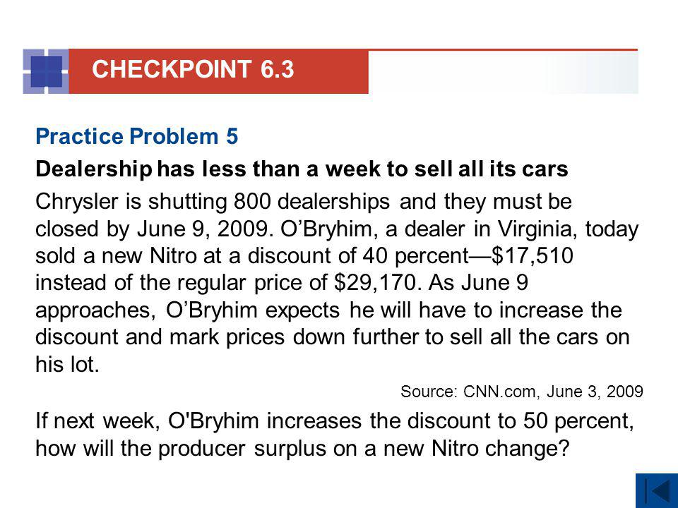 Practice Problem 5 Dealership has less than a week to sell all its cars Chrysler is shutting 800 dealerships and they must be closed by June 9, 2009.
