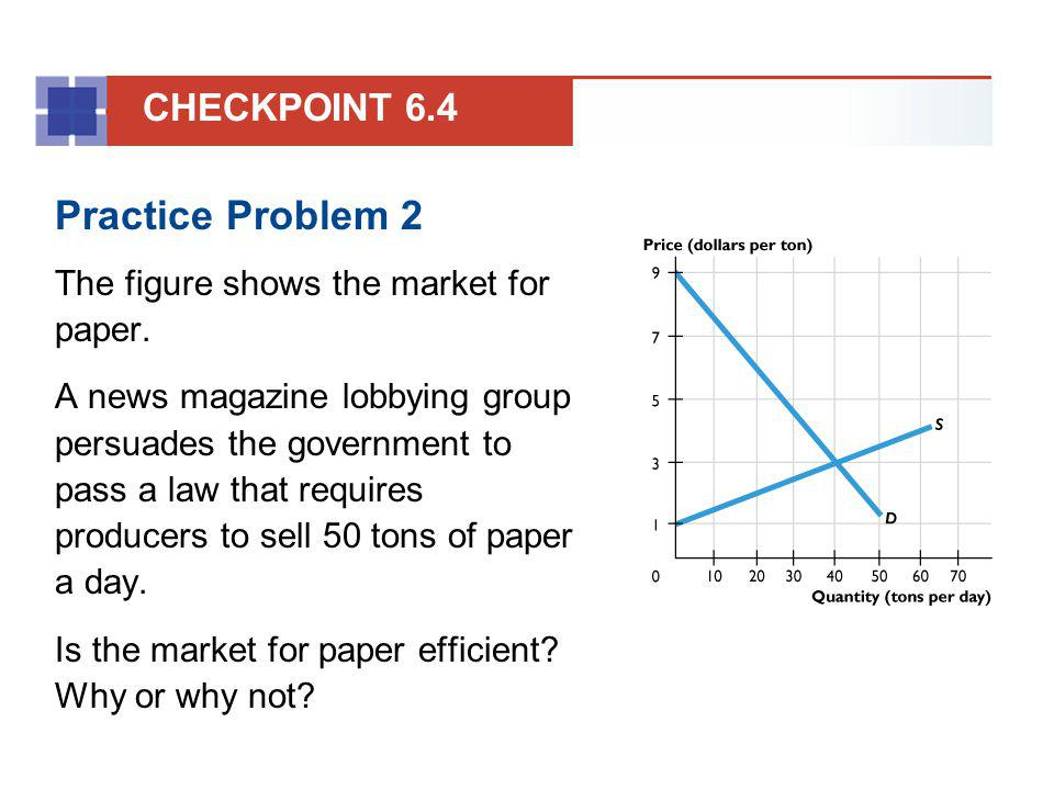 Practice Problem 2 The figure shows the market for paper. A news magazine lobbying group persuades the government to pass a law that requires producer