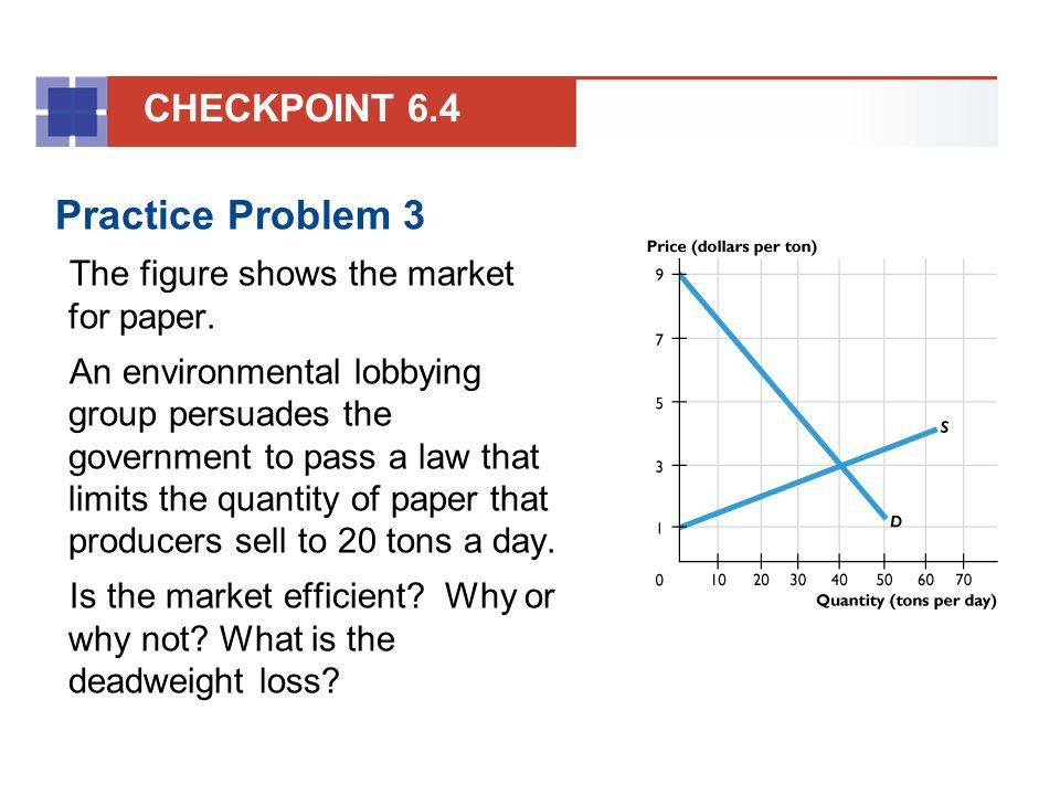 Practice Problem 3 The figure shows the market for paper. An environmental lobbying group persuades the government to pass a law that limits the quant