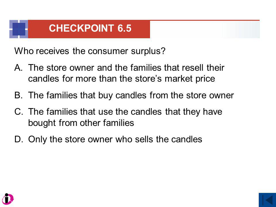 Who receives the consumer surplus? A.The store owner and the families that resell their candles for more than the stores market price B.The families t