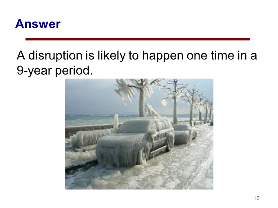 10 Answer A disruption is likely to happen one time in a 9-year period.