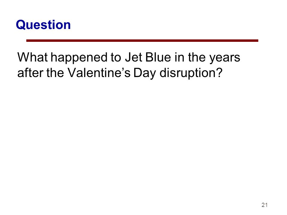 Question What happened to Jet Blue in the years after the Valentines Day disruption? 21