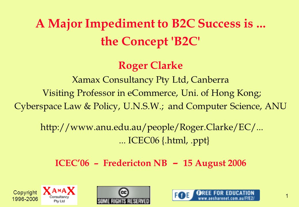 Copyright 1996-2006 1 A Major Impediment to B2C Success is...