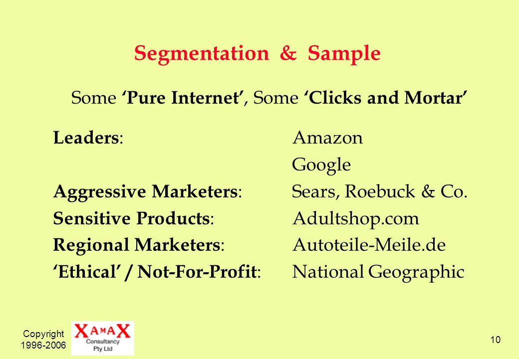 Copyright 1996-2006 10 Segmentation & Sample Some Pure Internet, Some Clicks and Mortar Leaders :Amazon Google Aggressive Marketers :Sears, Roebuck & Co.