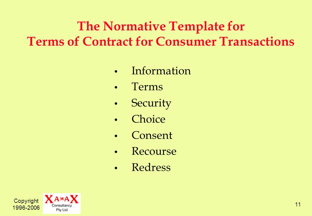 Copyright 1996-2006 11 The Normative Template for Terms of Contract for Consumer Transactions Information Terms Security Choice Consent Recourse Redre