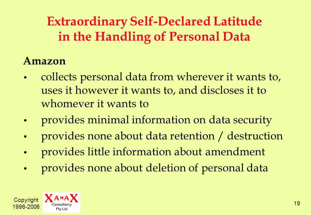 Copyright 1996-2006 19 Extraordinary Self-Declared Latitude in the Handling of Personal Data Amazon collects personal data from wherever it wants to, uses it however it wants to, and discloses it to whomever it wants to provides minimal information on data security provides none about data retention / destruction provides little information about amendment provides none about deletion of personal data