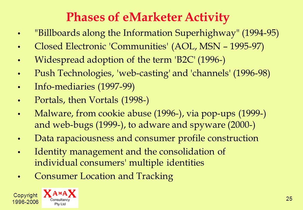 Copyright 1996-2006 25 Phases of eMarketer Activity Billboards along the Information Superhighway (1994-95) Closed Electronic Communities (AOL, MSN – 1995-97) Widespread adoption of the term B2C (1996-) Push Technologies, web-casting and channels (1996-98) Info-mediaries (1997-99) Portals, then Vortals (1998-) Malware, from cookie abuse (1996-), via pop-ups (1999-) and web-bugs (1999-), to adware and spyware (2000-) Data rapaciousness and consumer profile construction Identity management and the consolidation of individual consumers multiple identities Consumer Location and Tracking