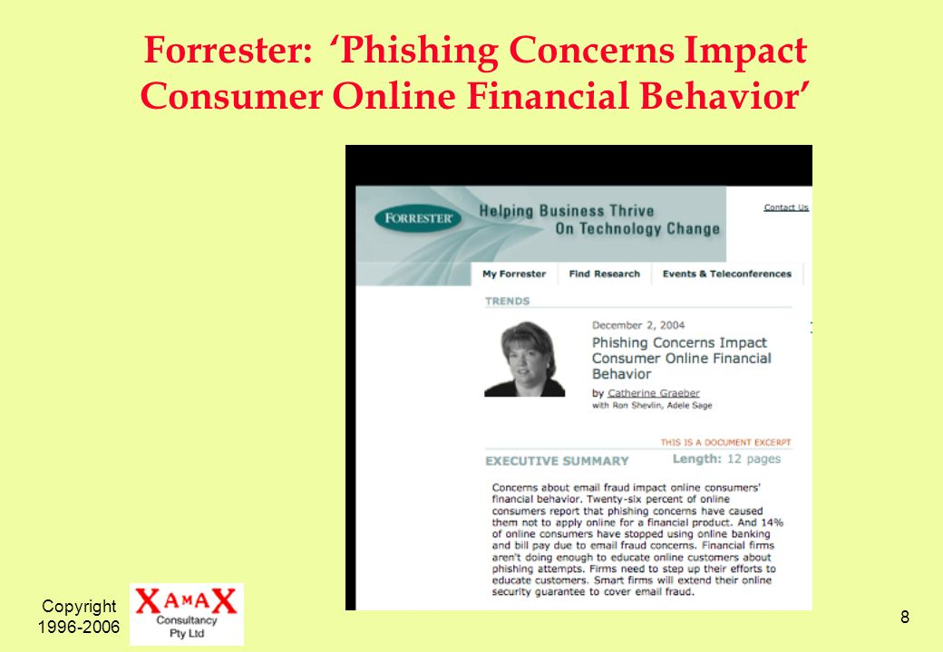 Copyright 1996-2006 8 Forrester: Phishing Concerns Impact Consumer Online Financial Behavior
