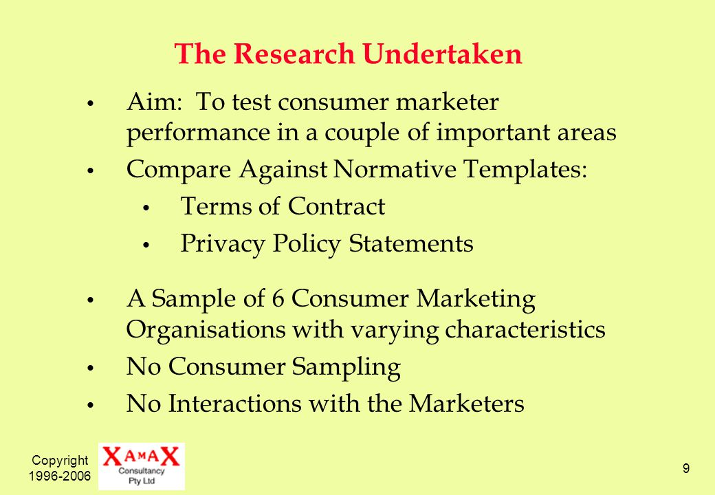 Copyright 1996-2006 9 The Research Undertaken Aim: To test consumer marketer performance in a couple of important areas Compare Against Normative Templates: Terms of Contract Privacy Policy Statements A Sample of 6 Consumer Marketing Organisations with varying characteristics No Consumer Sampling No Interactions with the Marketers