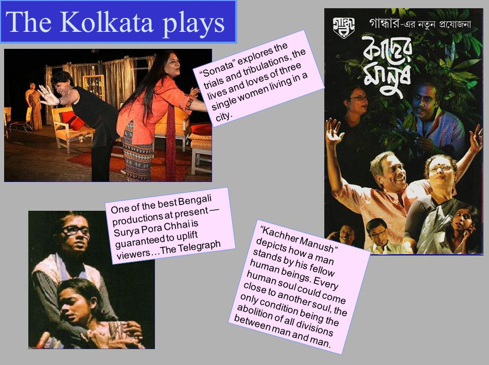 The Kolkata plays Kachher Manush depicts how a man stands by his fellow human beings.