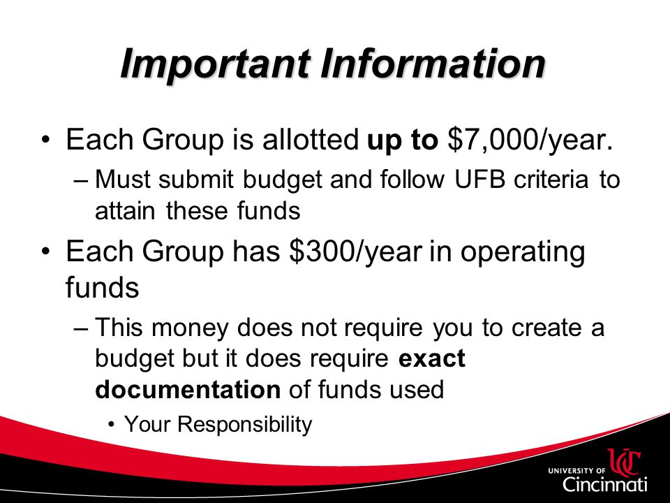 Important Information Each Group is allotted up to $7,000/year. –Must submit budget and follow UFB criteria to attain these funds Each Group has $300/