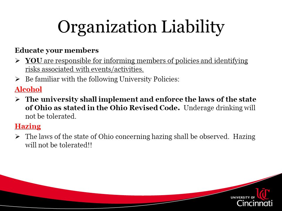 Organization Liability Events Involving Alcohol should follow the procedures below: Held at a licensed facility.