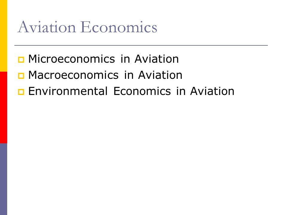 Microeconomics in Aviation Macroeconomics in Aviation Environmental Economics in Aviation