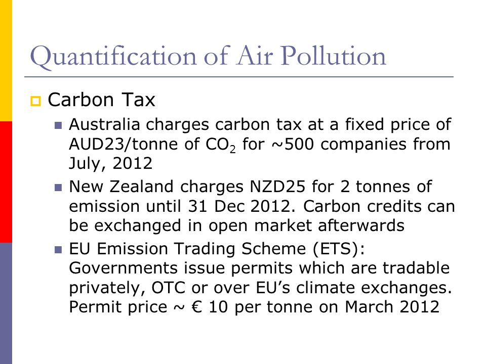 Quantification of Air Pollution Carbon Tax Australia charges carbon tax at a fixed price of AUD23/tonne of CO 2 for ~500 companies from July, 2012 New