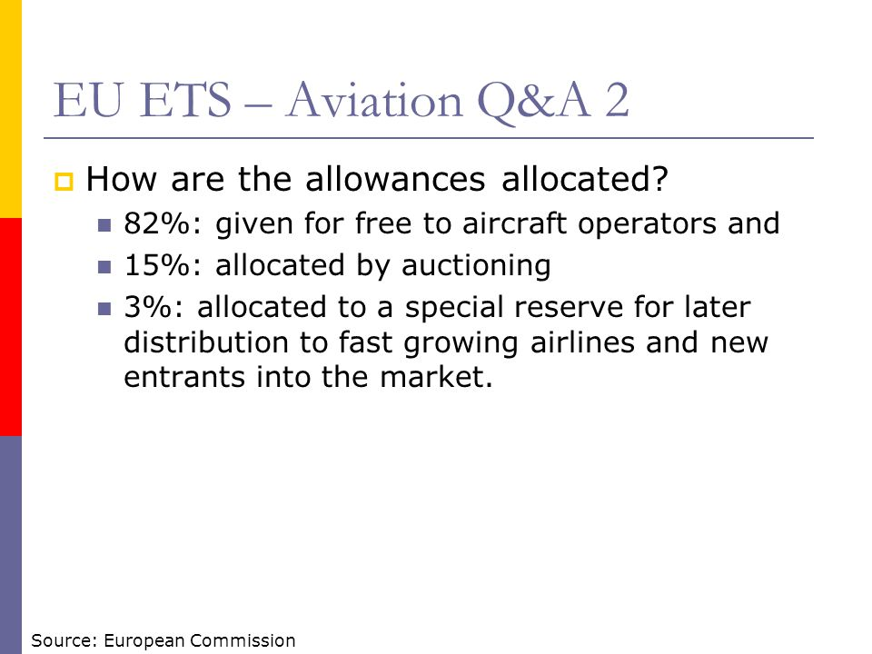 EU ETS – Aviation Q&A 2 How are the allowances allocated? 82%: given for free to aircraft operators and 15%: allocated by auctioning 3%: allocated to