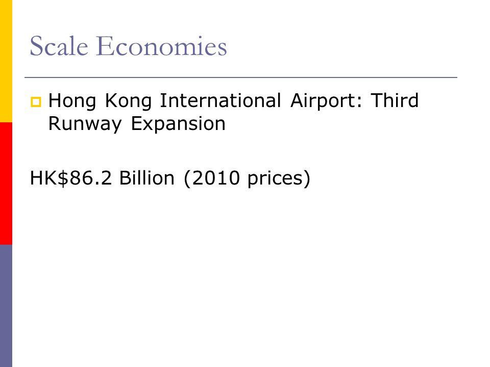 Scale Economies Hong Kong International Airport: Third Runway Expansion HK$86.2 Billion (2010 prices)