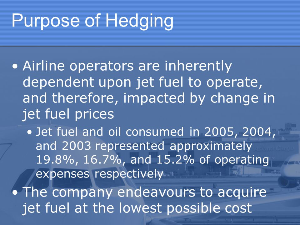 Purpose of Hedging Airline operators are inherently dependent upon jet fuel to operate, and therefore, impacted by change in jet fuel prices Jet fuel