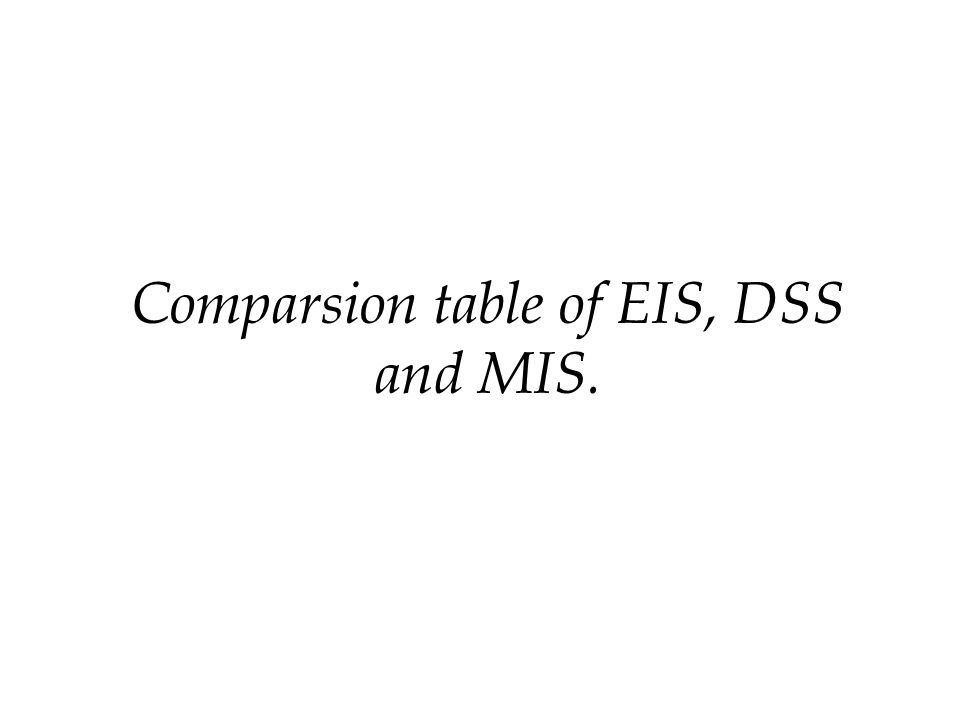 Comparsion table of EIS, DSS and MIS.
